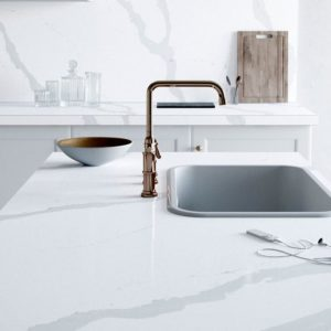 Calacatta gold silestone composiet keukenblad Eternal collectie Stonecenter